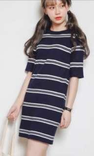 Navy blue & white stripes dress