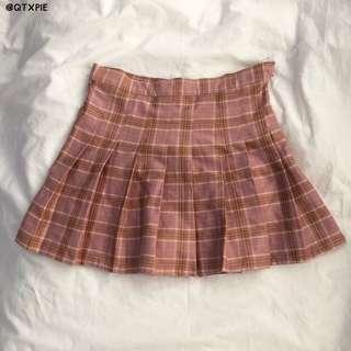 ulzzang pink checkered tennis skirt/skorts