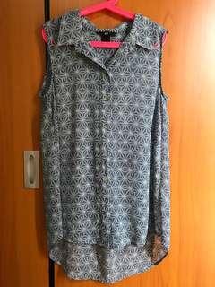 HnM blouse/atasan tanpa lengan biru