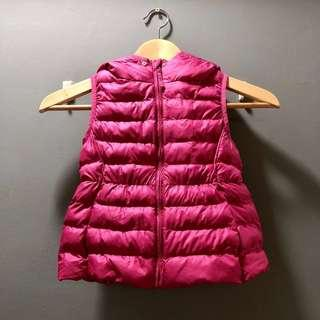 Uniqlo (Size: 110) Kid Winter Down Feather Vest Jacket with Hoodie (Purplish Pink)