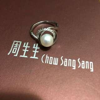 99.9%新周生生18K珍珠鑽石介指連單 原價約$7000