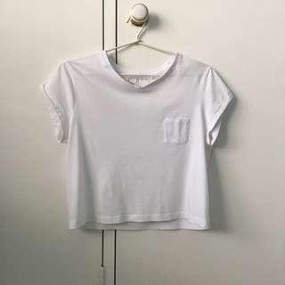 white cropped t-shirt