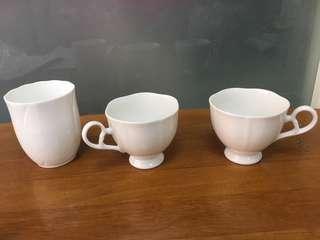 🚚 瓷白花瓣咖啡杯水杯