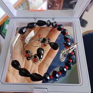 Bracelet & earring set crystal
