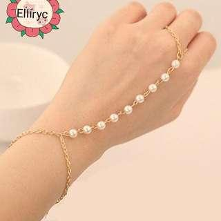 Faux Pearl Gold Plated Hand Chain Ring