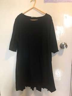 女裝黑色長身棉拼布衫