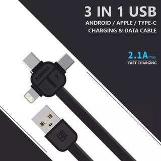 🚚 Remax 3 in 1 Charging and Data cable