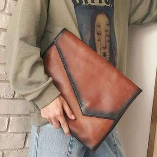 Seared Leather Clutch File Bag