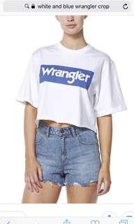 Blue wrangler crop tee