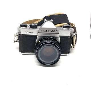 Pentax K1000 w/ 50mm F2 and 135mm F2.8 Lens & Leather Case