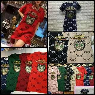 new gucci knitted cat sequins design tunic dress