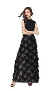 Black-heart patterned evening gown