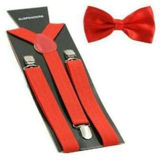 BOW TIE & SUSPENDER SET (RED)