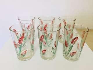 🚚 特價大拍賣!文青風普普風台灣懷舊早期玻璃杯老玻璃杯杯子6個一組240元