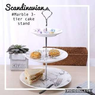 Brand New Scandinavian Marble 3-tier Cake Stand