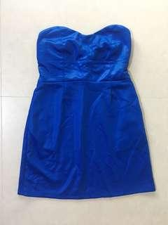🚚 Urban Outfitters' cobalt blue satin tube dress size M