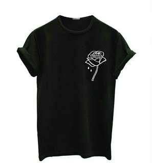 rose flower pocket Women tshirt Casual t shirt For Lady Top Tee Hipster