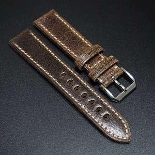 全新20 / 22mm 啡棕色優質厚牛皮錶帶配精鋼針扣合適 Rolex, IWC, Panerai & Seiko etc.