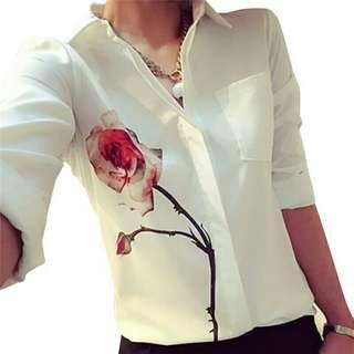 Autumn Women Blouses Rose Flower Print Long Sleeve Tops Shirt Turn Down Collar Chiffon Shirts Plus Size Blouse Blusas
