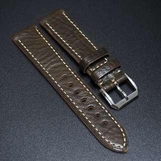 全新20 / 22mm 鴨屎綠色優質厚牛皮錶帶配精鋼針扣合適 Rolex, IWC, Panerai & Seiko etc.