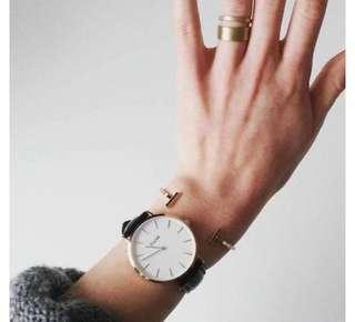 Cluse watch 黑色皮帶手錶 直徑38MM 非Daniel Wellington