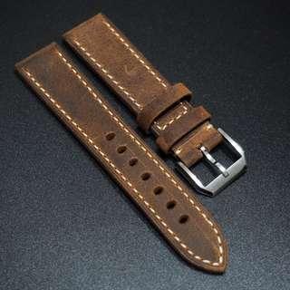 全新20 / 22 / 24mm 棕色優質厚牛皮錶帶配精鋼針扣合適 Rolex, IWC, Panerai & Seiko etc.