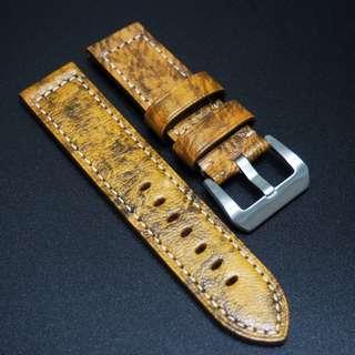 全新24mm Panerai款懷舊黃色優質厚牛皮錶帶配精鋼針扣
