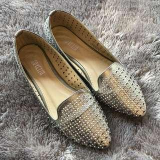 Peter kezia silver flat shoes studs