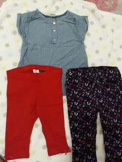 Maong top and leggings (carter's, h&m)