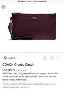 Coach Crosby Patent Clutch Oxblood (Ideal as Gift!)