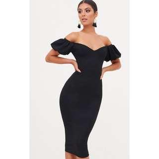 Black Balloon Sleeve Bardot Midi Dress