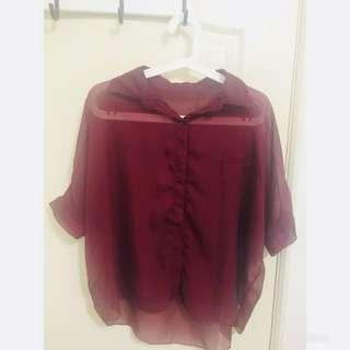 🚚 酒紅色襯衫