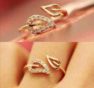 Rhinestone Leaves Gold Plated Adjustable Ring