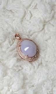 Lavender Myanmar Jade (Jadeite) Cabochon on 925 Silver Pendant. #Thanksgiving Special. 紫底缅甸玉翡翠925银吊坠。