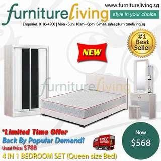New 4 in 1 Bedroom Package Set (Bedframe/Wardrobe/Dresser/Stool) for only $568