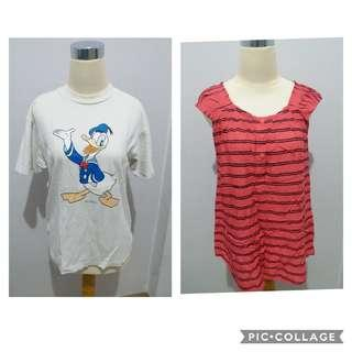 Kaos MURAH - Combo 1 : Kaos Donald Duck & Pink Stripes