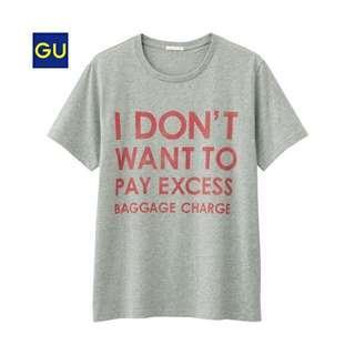 Gu  全新 登機 機場 行李 出國  短t XL