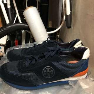 Authentic Tory Burch Leather And Suede Colorblock Sneaker