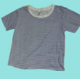 Blue and White Stripes t-shirt/crop top
