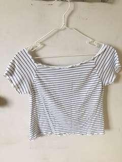 Blue Stripped Off Shoulder Lettuce Ruffle Top