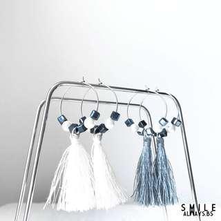 White/Grey Angelic Tessel Earrings