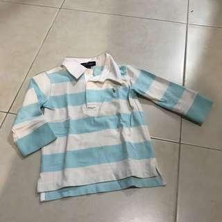 Ralph Lauren 3T polo tshirt long sleeve top stripe blue and white