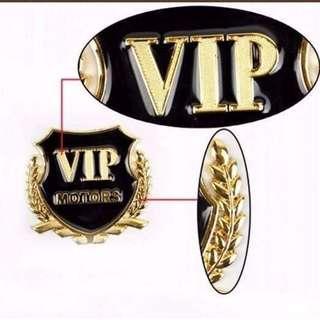 3D Metal VIP MOTORS Car Body Door Window Side Sticker Emblem Badge GOLD