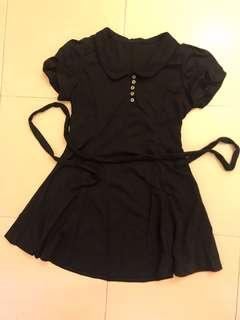 Puffy sleeve collared black dress
