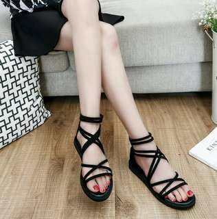 Black stripe sandals