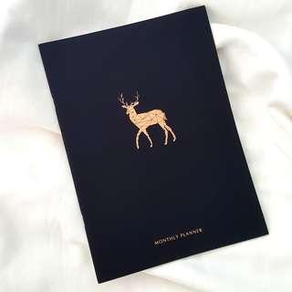 🚚 Black Timeless Monthly Planner w Rose Gold Deer Print