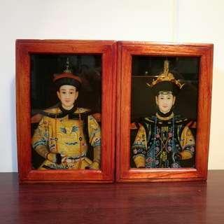 $60 仿古  皇帝皇后  木盒一對