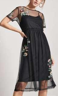 Embroided Mesh Dress