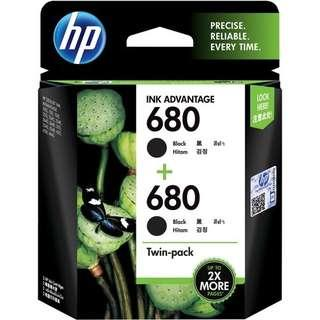 HP 680 Black Ink Cartridges Twin Pack (~480 pages)