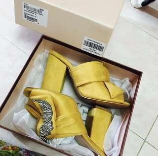 NEW Velvet Yellow Embellishments Mules Heels
